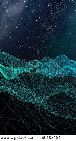 Abstract Landscape On A Dark Background. Cyberspace Grid. Hi Tech Network. Outer Space. Vertical Ori