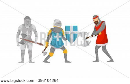 Knights In Iron Armour Suit And Sharp Hatchet Vector Set