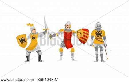 Knights In Iron Armour Suit And Sharp Sword Vector Set