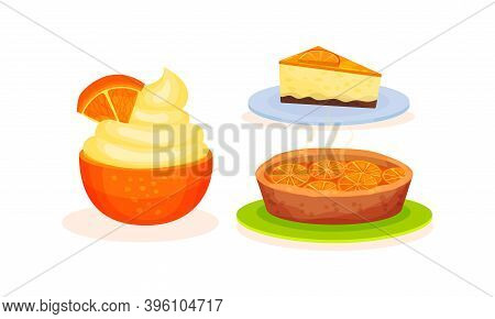 Orange Fruity Desserts With Pie And Mousse Vector Set