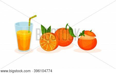 Orange Fruity Desserts With Ice Cream And Fresh Juice In Glass With Straw Vector Set