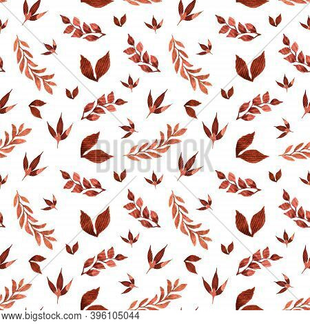 Watercolor Pattern With Different Ocher Leaves Of Plants And Trees On A White Background. Whole Bran