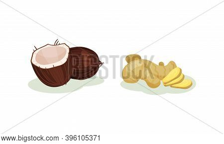 Halved Coconut And Sliced Ginger As Superfood Vector Set