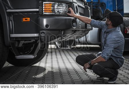 Caucasian Trucker Preparing To Get Brand New Semi Truck Leasing For All New Semi Truck Vehicle. Tran