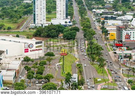 Campo Grande - Ms, Brazil - November 12, 2020: Aerial View Of The Afonso Pena Avenue In Front Of The