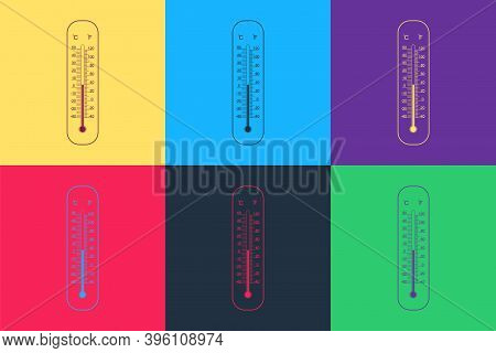 Pop Art Celsius And Fahrenheit Meteorology Thermometers Measuring Icon Isolated On Color Background.
