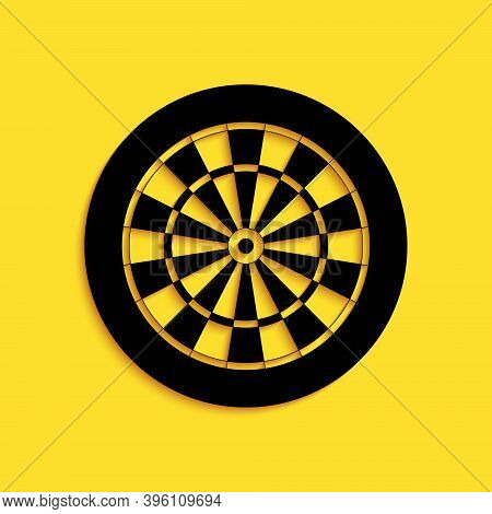 Black Classic Darts Board With Twenty Black And White Sectors Icon Isolated On Yellow Background. Da