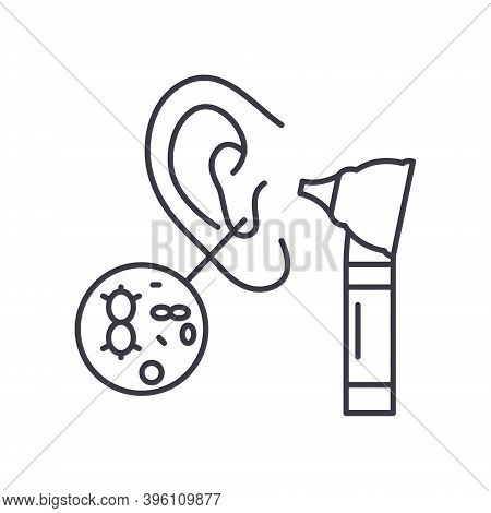 Ear Infection Icon, Linear Isolated Illustration, Thin Line Vector, Web Design Sign, Outline Concept