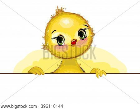 Little Chick. Funny Chick. Cute And Funny Baby Bird. The Isolated Object On A White Background. Illu