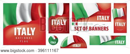 Vector Set Of Banners With The National Flag Of The Italy