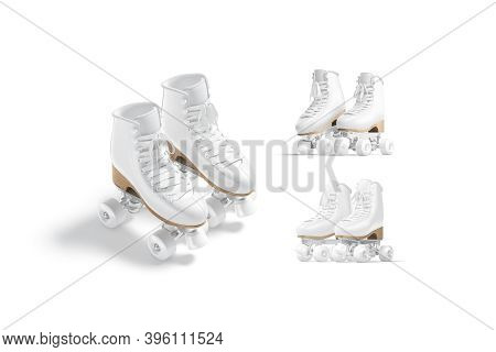 Blank White Roller Skates With Wheels Mockup Pair, Different Views, 3d Rendering. Empty Retro Roller