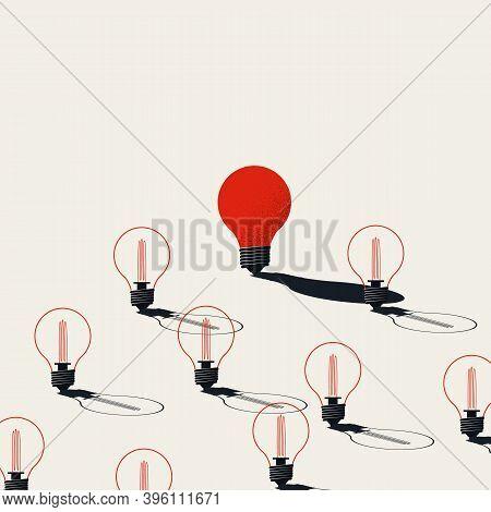 Creativity Vector Concept With One Lightbulb Turned On. Symbol Of Innovative Idea, Breakthrough, Bra