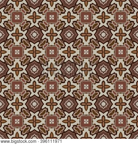 Seamless Illustrated Pattern Made Of Abstract Elements In Beige And Shades Of Brown
