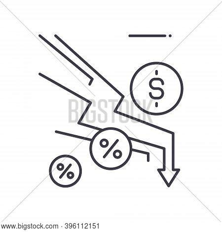 Economic Depreciation Icon, Linear Isolated Illustration, Thin Line Vector, Web Design Sign, Outline