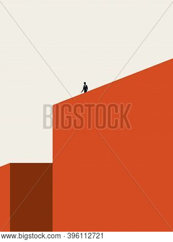 Solitude Or Loneliness Vector Illustration Concept With Man Standing On Top Of Building. Minimal Abs
