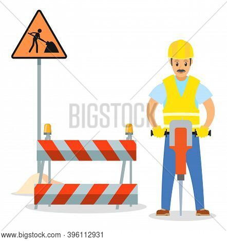 Road Repair Flat Vector Illustration. Male Worker With Jackhammer. Maintenance And Construction Of P