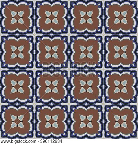 Seamless Illustrated Pattern Made Of Abstract Elements In Light Gray, Brown, Black And Shades Of Blu