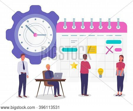 Planning Schedule And Time Management Concept Banner, Man And Woman Doing Organization. Business Peo