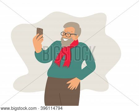 Elderly Man On Phone And Smiling. Talking On The Phone. Hold Up. Old Man's Face With Glasses. Vector