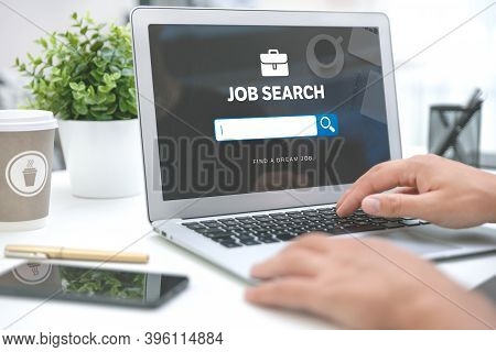 Find A Dream Job Concept. Job Search Application On Laptop