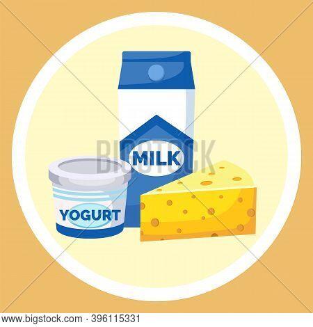 Milk And Farm Products. Dairy Produce Milk Drink Yogurt In A Plastic Cup, Milk In A Cardboard Box An