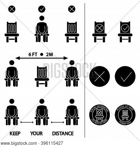 Keep Your Distance. Do Not Sit Here. Forbidden Icon For Seat. Distancing Sitting. Lockdown Rules. Ke