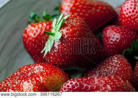 Set of  delicious, red and ripe strawberries.