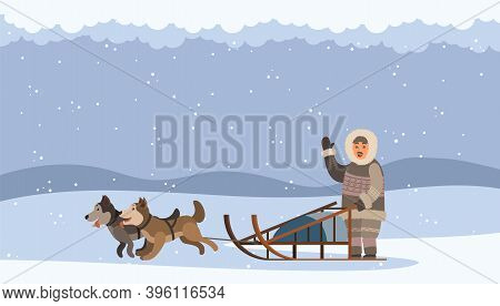 Arctic Man Using Sledge With Sled Dogs Traveling On Snowdrifts. Character Waving Hand. Snowing Weath