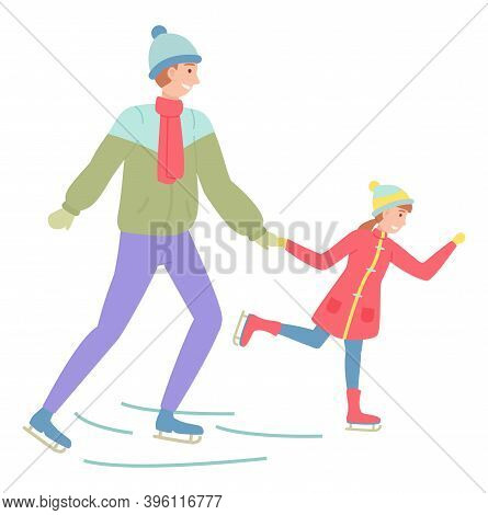 Father And Daughter Playing Ice Skating On Rink Outdoor In The Winter Season During Christmas Holida