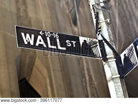 New York, Usa - July 9, 2010: Wall Street Sign In Manhattan New York In Detail.