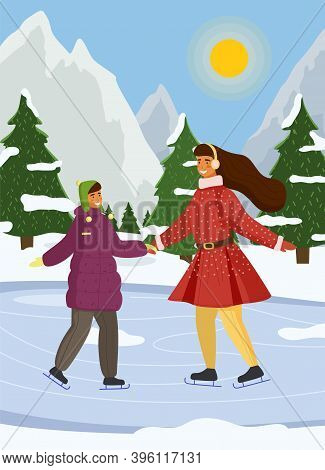 Mother And Daughter Playing Ice Skating On Rink Outdoor During The Winter Season Against The Backdro