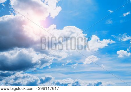 Blue sky background, vast blue sky landscape panoramic scene. Colorful blue sky view in bright tones, blue sky view. Vast blue sky, colorful sky landscaper, sunny sky nature, blue sky with white clouds. Sky background