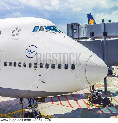 Frankfurt, Germany - June 8, 2012: Lufthansa Flight Ready To Head To Runway  In Frankfurt, Germany.