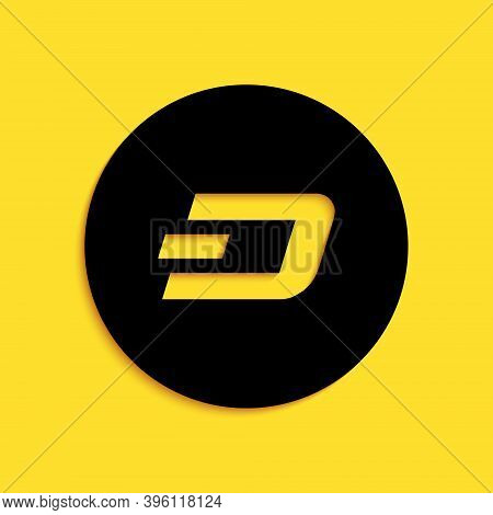 Black Cryptocurrency Coin Dash Icon Isolated On Yellow Background. Physical Bit Coin. Digital Curren