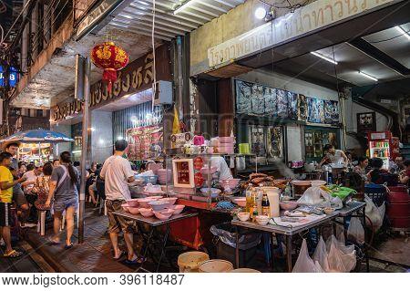 Bangkok/thailand-25 Dec 2019:the Famous Boiled Chinese Pasta Square On Yaowarat China Town At Bangko