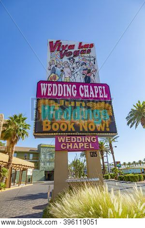 Las Vegas, Usa - June 15, 2012: Wedding Chapel In Las Vegas, Usa. They Offer A 24 Hour Service  And