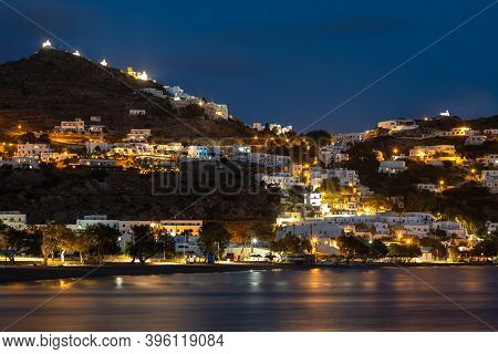 Chora, Ios Island, Greece- 19 September 2020: View Of The Chora, Old Town At Night. Small Chapels On