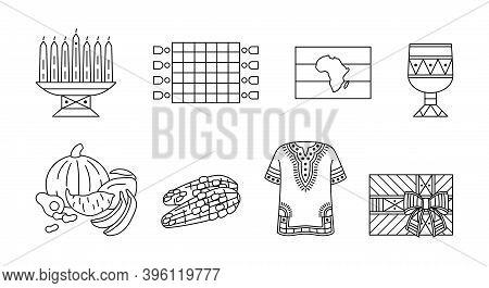 Kwanzaa - Set Of Outline Icons. Traditional Symbols Of African-american Unity. Kinara, Mkeka Mat, Go