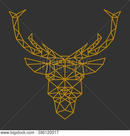Geometric Reindeer Or Stag Head Front View Vector Illustration