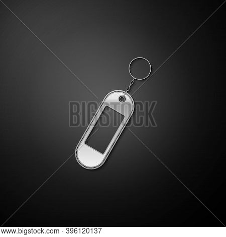 Silver Key Chain Icon Isolated On Black Background. Blank Rectangular Keychain With Ring And Chain F