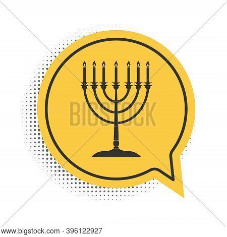Black Hanukkah Menorah Icon Isolated On White Background. Religion Icon. Hanukkah Traditional Symbol