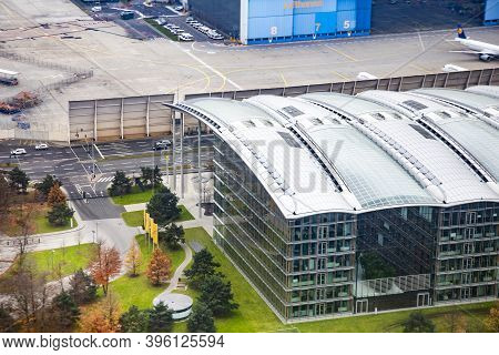 Frankfurt, Germany - December 6, 2014: Aerial Of Entrance Of The New Headquarter Building Of Lufthan