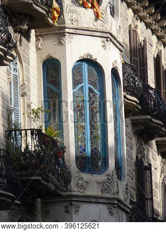 Barcelona, Spain - March 1, 2015: Architecture Detail In Paseo De Gracia Avenue, Barcelona, Cataloni