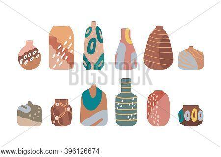 Modern Set Of Ceramic Vases, Jugs, Pots. Set Of Ceramics For Home Decoration.  Flat Vector Cartoon I
