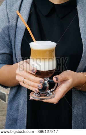 Woman Hands Holding Glass Of Coffee Drink