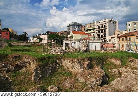 Durres, Albania - 08 May 2018: Ancient Roman Ruins In The Center Of Durres, Albania