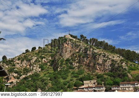 Berat, Albania - 09 May 2018: The Vintage Fortress Of Berat City In Albania