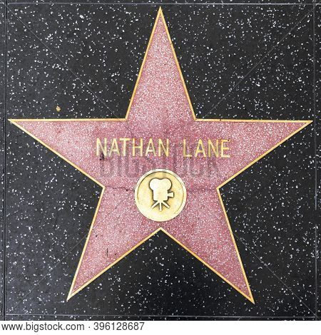 Los Angeles, Usa - Mar 5, 2019: Closeup Of Star On The Hollywood Walk Of Fame For Nathan Lane.
