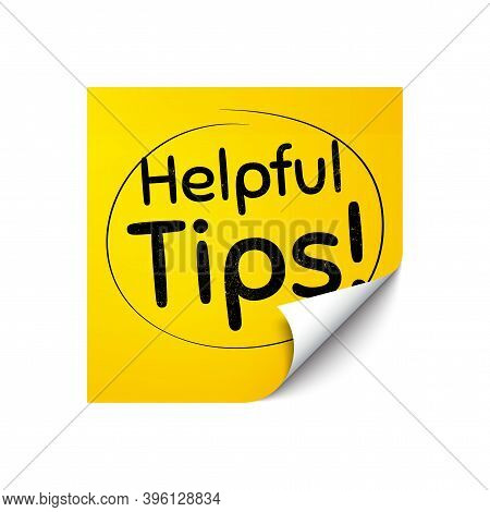 Helpful Tips Symbol. Sticker Note With Offer Message. Education Faq Sign. Help Assistance. Yellow St