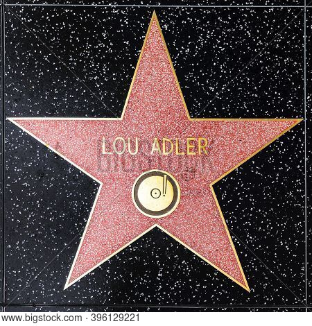 Los Angeles, Usa - March 5, 2019: Closeup Of Star On The Hollywood Walk Of Fame For Lou Adler.